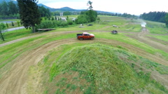 Air view on off road course with driver - stock footage