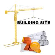 Building crane with building site Stock Illustration