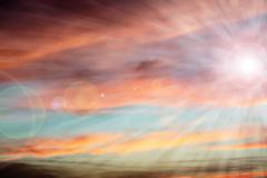 Beautiful sunrise with colorful cloudy sky Stock Photos