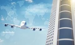Jet with world map and skyscraper Stock Illustration