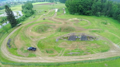 Stock Video Footage of Air view on off road course with pick up driver