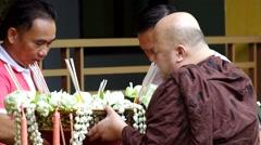 Monk is praying Stock Footage