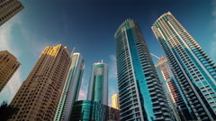 Sunset day dubai marina jbr apartment buildings top 4k time lapse uae Stock Footage
