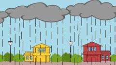 Animation cartoon is rain, the sky big gray clouds, heavy rain Stock Footage