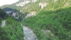 Overflight of a small river in the mountains Stock Footage