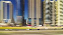 Dubai city sunny day metro ride window view 4k time lapse uae Stock Footage