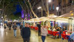 La Rambla (Las Ramblas) walking street, Barcelona, Catalunya, Spain - Time lapse - stock footage