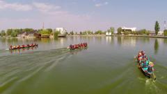 International rowing boats festival Stock Footage