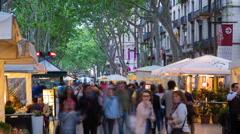 La Rambla (Las Ramblas) walking street, Barcelona, Catalunya, Spain - Time lapse Stock Footage