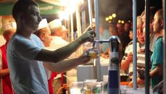 Tourists enjoying food and drink - stock footage