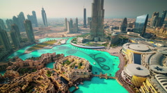 dubai famous hotel day fountain roof top panorama 4k time lapse uae - stock footage