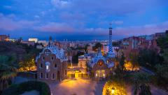 Spain, Catalonia, Barcelona, Park Guell, listed as World Heritage by UNESCO - - stock footage