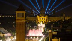 Fountains in front of the National Museum of Art, Plaza d'Espanya, Barcelona, Stock Footage