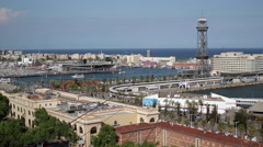 Elevated view over Port Vell - the old harbour district in Barcelona, Spain Stock Footage