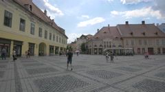 Young men and women in the Large Square, Sibiu Stock Footage