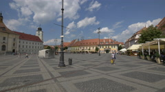 Beautiful day in the Large Square, Sibiu Stock Footage