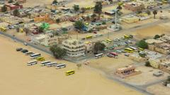 Dubai city industrial part 4k buss parking roof top view 4k time lapse uae Stock Footage