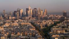 Night to day time lapse over La Defense business district, Paris, France, Europe Stock Footage