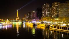 Stock Video Footage of Paris, night view of River Seine and Eiffel Tower - Time lapse