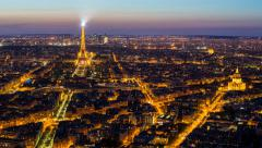 Elevated view of city with the Eiffel Tower in the distance,  Paris, France, - stock footage