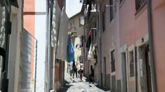 Shopping street around Saint George castle, Lisbon Stock Footage