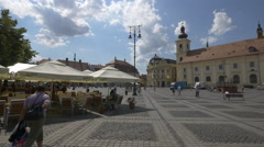 Great afternoon in the Large Square of Sibiu Stock Footage