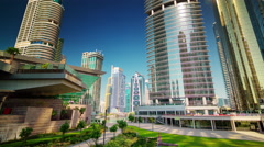 Dubai marina jbr marina park front panorama 4k time lapse uae Stock Footage
