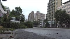 Road Damage After Tropical Storm Hits Taiwan, Typhoon Soudelor 4K-Dan Stock Footage