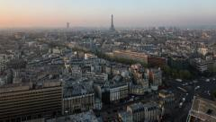 Elevated view of city with the Eiffel Tower, Paris, France - Time lapse - stock footage