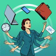 Businesswoman many hands business idea time management Stock Illustration