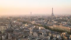 City skyline with the Eiffel Tower, Paris, France - Time lapse Stock Footage