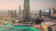 sunny day world highest building fountain top 4k time lapse uae - stock footage