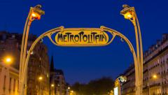 Art deco Metropolitain (subway) sign, Paris, France, Europe - time lapse - stock footage