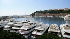 Monte Carlo France outdoor yacht marina luxury wealth finance banking tourism - stock footage