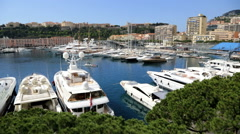 Monte Carlo France outdoor yacht marina luxury wealth finance banking tourism Stock Footage