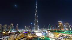 dubai night light mall highest building famous fountain show 4k time lapse uae - stock footage