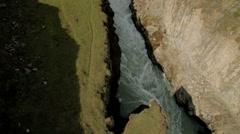 Aerial Iceland Gullfoss cliff Wild Eco tourism trekking river - stock footage