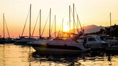 Yacht boats on sunset UHD timelapse. Stock Footage