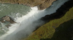 Aerial Iceland Gullfoss Falls waterfall Eco tourism river - stock footage