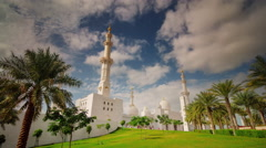 Sunny day abu dhabi world famous white mosque 4k time lapse uae Stock Footage