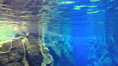 Iceland Silfra Thingvellir environment rock volcanic biology underwater - stock footage