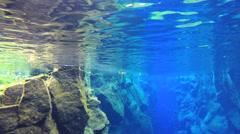 Iceland Silfra Thingvellir environment rock volcanic biology underwater Stock Footage