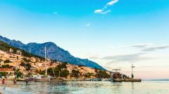 Croatia. Brela town (Makarska riviera) Stock Footage