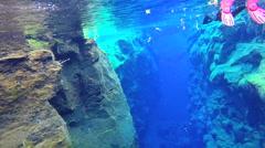Iceland Silfra Thingvellir river Tectonic volcanic Plates diver Stock Footage