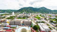 Time Lapse of Clouds Passing Over the Town of Phuket Thailand Stock Footage