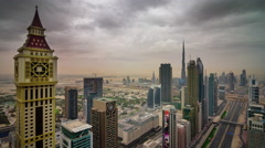 Dubai city downtown roof top main road panorama 4k time lapse uae Stock Footage