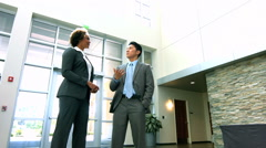 African American Asian Chinese Caucasian male female business team handshake - stock footage