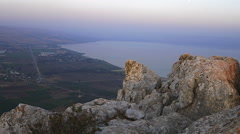 View of the sea of Galilee from Mount Arbel. Cropped. Stock Footage