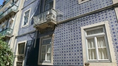 Typical ceramic facade, frontal of portuguese houses - stock footage