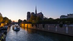 Notre Dame cathedral and the River Seine, Paris, France, Europe - Time lapse - stock footage